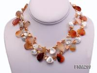 2 strand agate and white seashell necklace FNM299