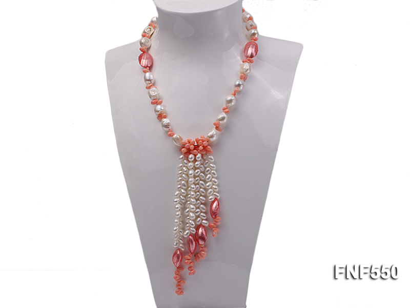 6-7mm White Freshwater Pearl and Pink Coral Beads Necklace big Image 1