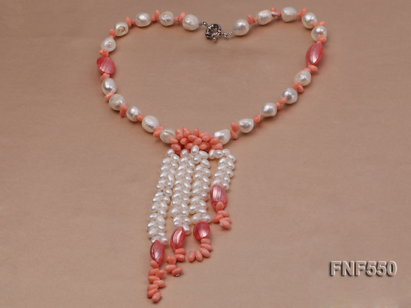 6-7mm White Freshwater Pearl and Pink Coral Beads Necklace big Image 2