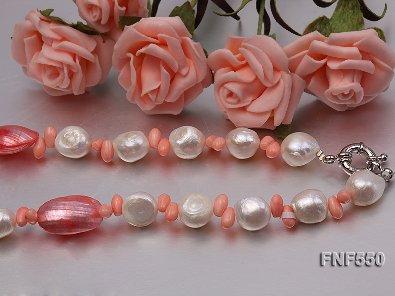6-7mm White Freshwater Pearl and Pink Coral Beads Necklace big Image 3