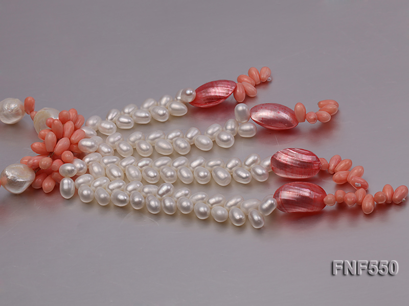 6-7mm White Freshwater Pearl and Pink Coral Beads Necklace big Image 4