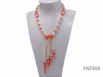 6-7mm White Freshwater Pearl and Pink Coral Beads Necklace FNF550 Image 1