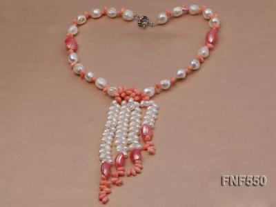 6-7mm White Freshwater Pearl and Pink Coral Beads Necklace FNF550 Image 2