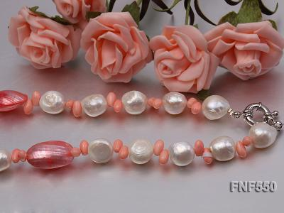 6-7mm White Freshwater Pearl and Pink Coral Beads Necklace FNF550 Image 3
