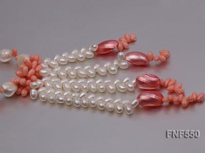6-7mm White Freshwater Pearl and Pink Coral Beads Necklace FNF550 Image 4