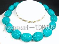 22x25mm blue oval carved Turquoise Necklace TQN039