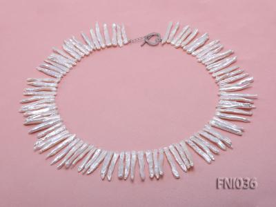 Classic 4x35mm White Stick-shaped Freshwater Pearl Necklace FNI036 Image 3