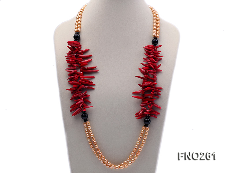 7-8mm golden oval freshwater pearl and red tooth-shaped coral and black agate necklace big Image 1