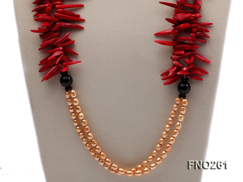 7-8mm golden oval freshwater pearl and red tooth-shaped coral and black agate necklace big Image 2