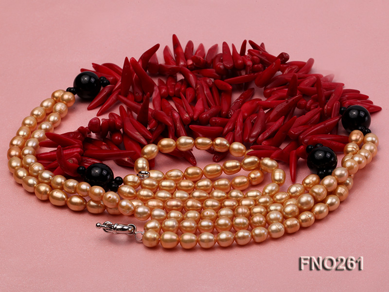 7-8mm golden oval freshwater pearl and red tooth-shaped coral and black agate necklace big Image 3