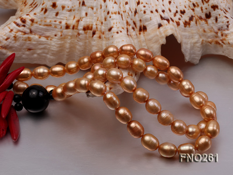 7-8mm golden oval freshwater pearl and red tooth-shaped coral and black agate necklace big Image 5