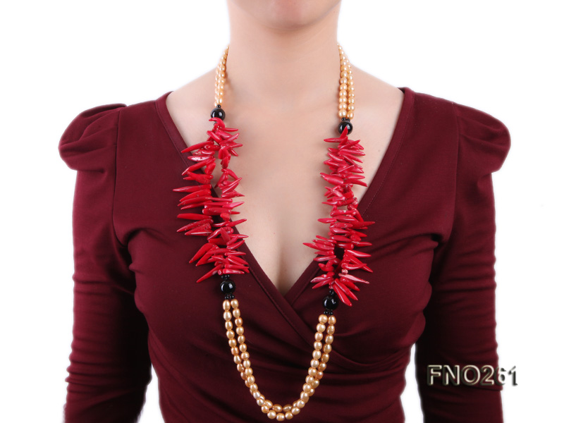 7-8mm golden oval freshwater pearl and red tooth-shaped coral and black agate necklace big Image 7