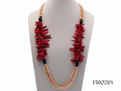 7-8mm golden oval freshwater pearl and red tooth-shaped coral and black agate necklace FNO261 Image 1
