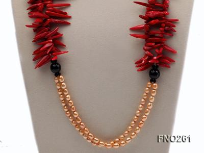 7-8mm golden oval freshwater pearl and red tooth-shaped coral and black agate necklace FNO261 Image 2