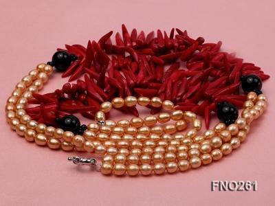 7-8mm golden oval freshwater pearl and red tooth-shaped coral and black agate necklace FNO261 Image 3