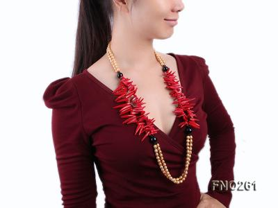 7-8mm golden oval freshwater pearl and red tooth-shaped coral and black agate necklace FNO261 Image 6