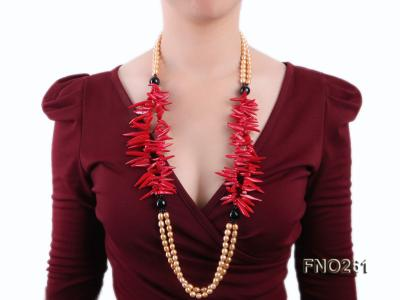 7-8mm golden oval freshwater pearl and red tooth-shaped coral and black agate necklace FNO261 Image 7
