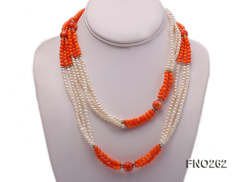 4-5mm white round pearls and pink coral three-strand necklace big Image 1