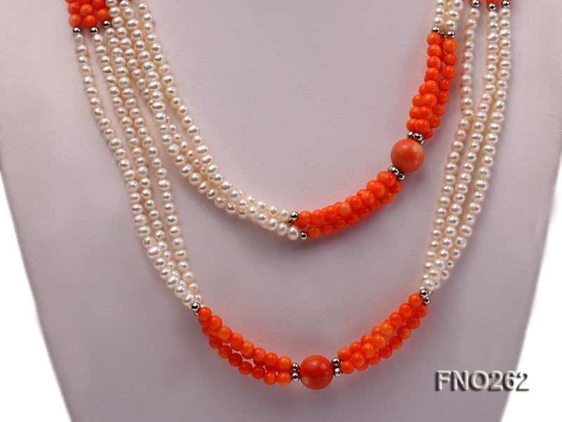 4-5mm white round pearls and pink coral three-strand necklace big Image 2