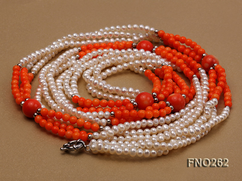 4-5mm white round pearls and pink coral three-strand necklace big Image 3