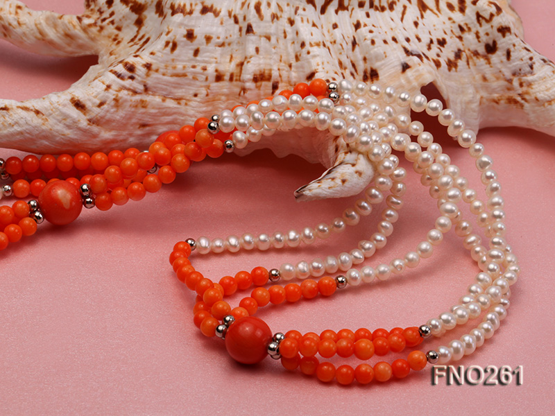 4-5mm white round pearls and pink coral three-strand necklace big Image 5