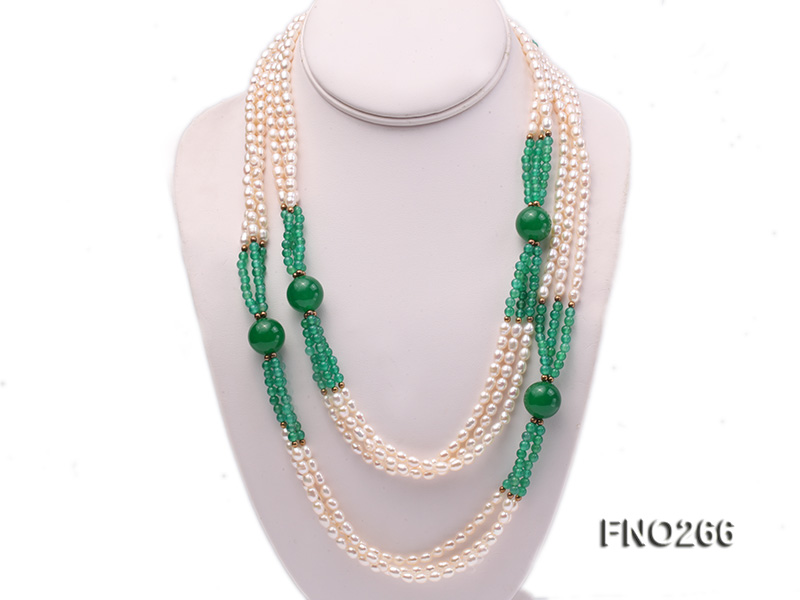6-7mm white elliptical pearls dotted with green jade multi-strand necklace big Image 1
