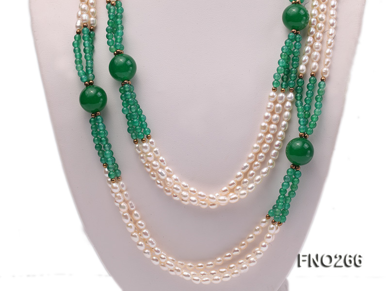 6-7mm white elliptical pearls dotted with green jade multi-strand necklace big Image 2