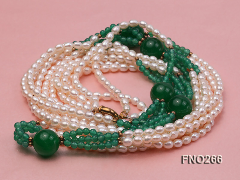 6-7mm white elliptical pearls dotted with green jade multi-strand necklace big Image 3