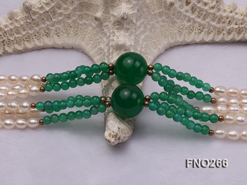 6-7mm white elliptical pearls dotted with green jade multi-strand necklace big Image 5