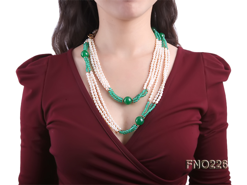6-7mm white elliptical pearls dotted with green jade multi-strand necklace big Image 6