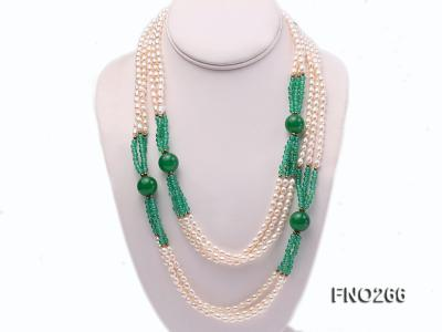 6-7mm white elliptical pearls dotted with green jade multi-strand necklace FNO266 Image 1