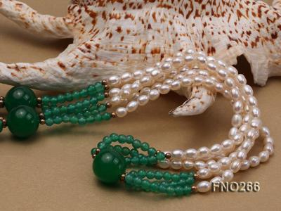 6-7mm white elliptical pearls dotted with green jade multi-strand necklace FNO266 Image 4