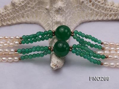 6-7mm white elliptical pearls dotted with green jade multi-strand necklace FNO266 Image 5