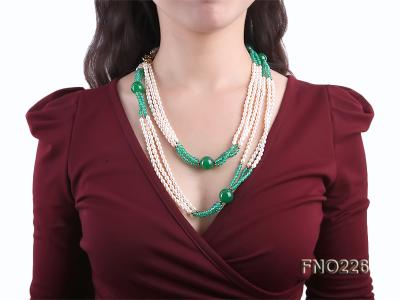 6-7mm white elliptical pearls dotted with green jade multi-strand necklace FNO266 Image 6