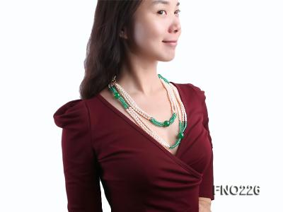 6-7mm white elliptical pearls dotted with green jade multi-strand necklace FNO266 Image 7