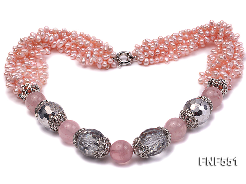 Multi-strand 4-5mm Pink Freshwater Pearl, Pink Crystal Beads and Synthetic White Crystal Necklace big Image 1