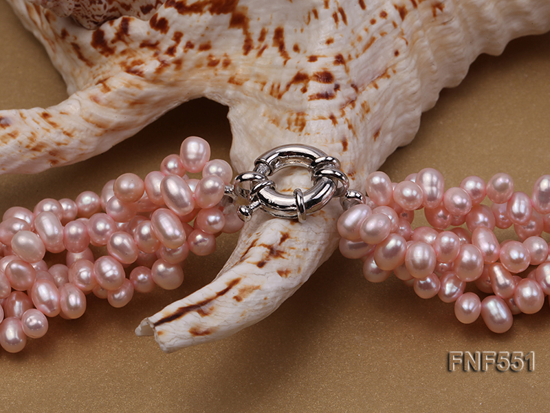 Multi-strand 4-5mm Pink Freshwater Pearl, Pink Crystal Beads and Synthetic White Crystal Necklace big Image 4
