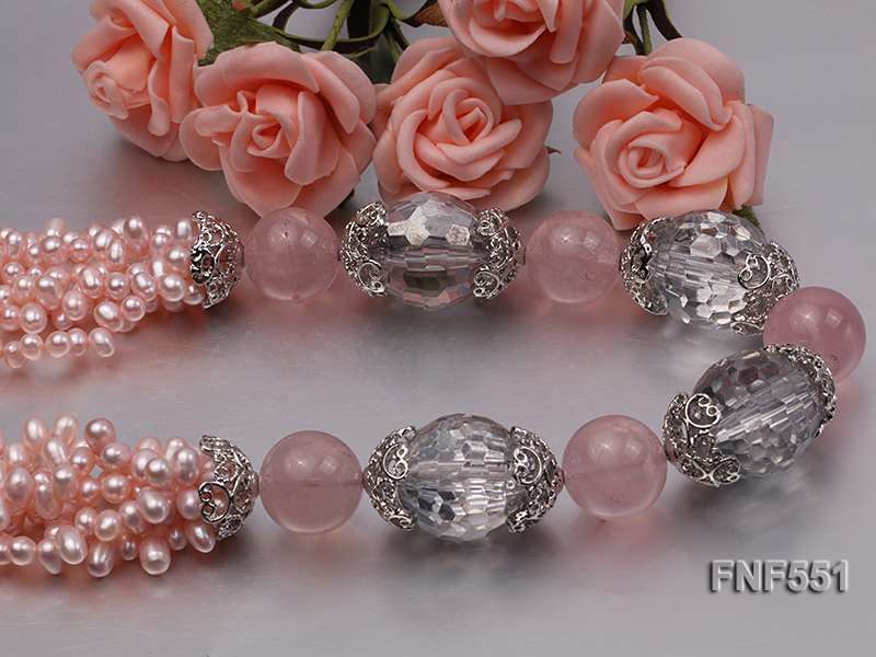 Multi-strand 4-5mm Pink Freshwater Pearl, Pink Crystal Beads and Synthetic White Crystal Necklace big Image 5