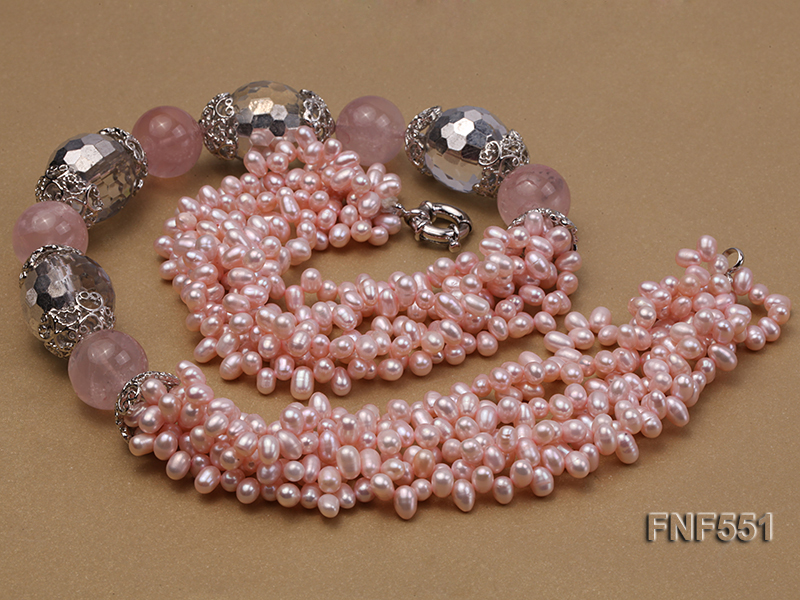 Multi-strand 4-5mm Pink Freshwater Pearl, Pink Crystal Beads and Synthetic White Crystal Necklace big Image 6