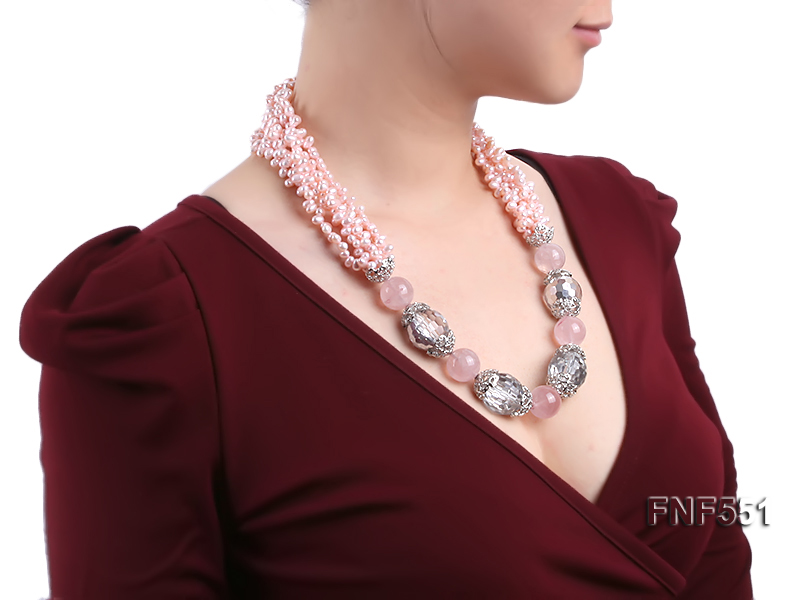 Multi-strand 4-5mm Pink Freshwater Pearl, Pink Crystal Beads and Synthetic White Crystal Necklace big Image 7