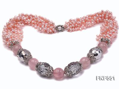 Multi-strand 4-5mm Pink Freshwater Pearl, Pink Crystal Beads and Synthetic White Crystal Necklace FNF551 Image 1
