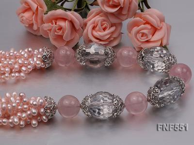 Multi-strand 4-5mm Pink Freshwater Pearl, Pink Crystal Beads and Synthetic White Crystal Necklace FNF551 Image 5