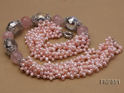 Multi-strand 4-5mm Pink Freshwater Pearl, Pink Crystal Beads and Synthetic White Crystal Necklace FNF551 Image 6