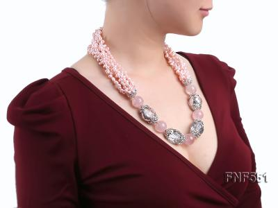 Multi-strand 4-5mm Pink Freshwater Pearl, Pink Crystal Beads and Synthetic White Crystal Necklace FNF551 Image 7