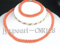 2-3mm Round Pink Coral Necklace and Bracelet Set CNR128