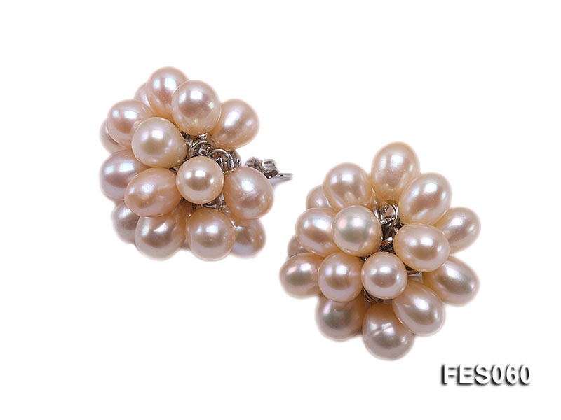 6x7mm Pink Rice-shaped Cultured Freshwater Pearl Earrings big Image 2