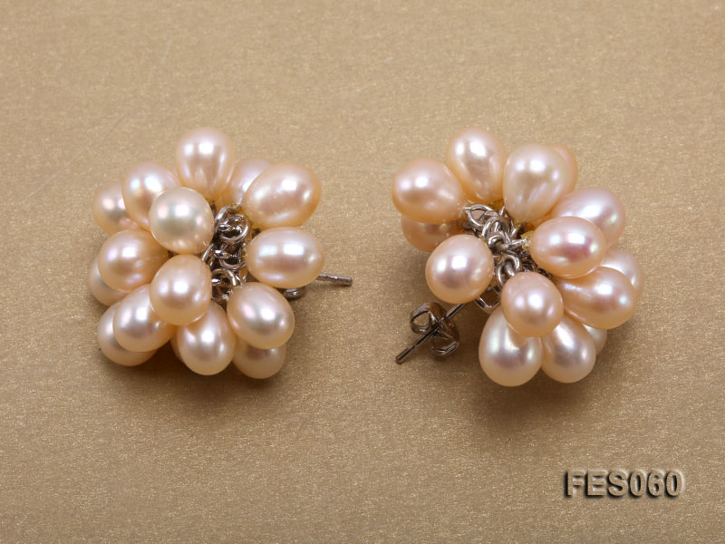 6x7mm Pink Rice-shaped Cultured Freshwater Pearl Earrings big Image 3
