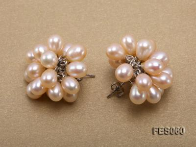 6x7mm Pink Rice-shaped Cultured Freshwater Pearl Earrings FES060 Image 3