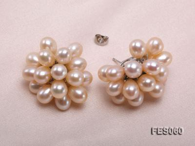 6x7mm Pink Rice-shaped Cultured Freshwater Pearl Earrings FES060 Image 4