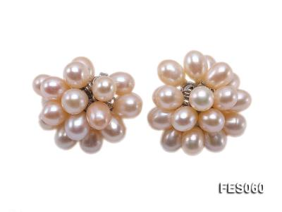 6x7mm Pink Rice-shaped Cultured Freshwater Pearl Earrings FES060 Image 1